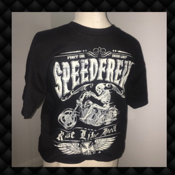 Speed Freak Other - Ride Like Hell Skull Biker Men's Black T-Shirt M